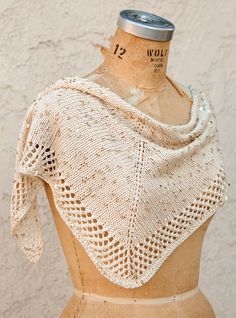 Free knitting pattern for Stargazing Shawlette easy shawl in stockinette with mesh border.