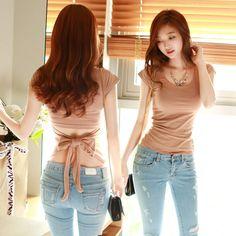 Hot Fashion Women Plus Size T-shirt Bow Slim Tops Low-Cut V Neck Top Cotton Hollow T-shirt Black Pink Khaki Beige FX029 #Affiliate