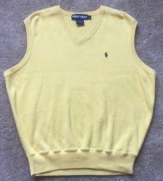 Polo Golf Ralph Lauren Men's Yellow Sleeveless Cotton Sweater Vest Size Medium | eBay