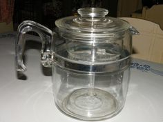Vintage Flameware Pyrex Glass 9 Cup Coffee Pot Percolator Complete 7759 #Pyrex
