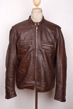 Vtg 60s BROOKS Gold Label STEERHIDE Leather Motorcycle Jacket CAFE RACER XL