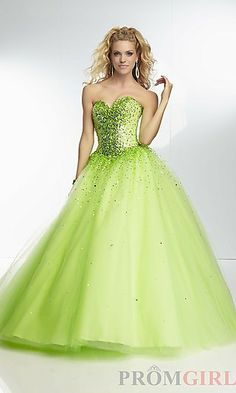 Long Beaded Tulle Ball Gown by Mori Lee at PromGirl.com comes in orange too