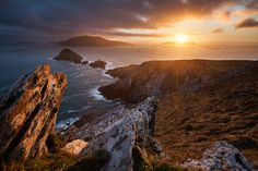 Sunset over the Blasket Islands from Dunmore Point at Slea Head, Co. Kerry.