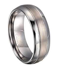 high gold fit ring wedding mens carbide tungsten band plated polished polish comfort bling domed jewelry rings