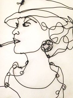 Coco Chanel wire wall sculpture - Fashion Legend Artwork by Isabella Pavanati
