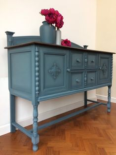 Excited to share this item from my shop: FOR SALE**Painted Sideboard, Painted Dresser, Painted Buffet, Teal Furniture,Edwardian Oak Sideboard Hand Painted in a Blue Mineral Paint Painted Buffet, Painted Sideboard, Oak Sideboard, Sideboard Ideas, Painted Dressers, Credenza, Painted Furniture For Sale, Chalk Paint Furniture, Colorful Furniture