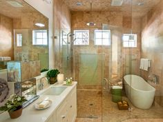Spa-Style Shower: Glass, Travertine and Quartz