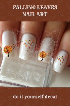 I love this design!  It's a super-affordable decal, about $2.50 #nailart #autumn #fall #leaves #manicure #decal #affiliate #etsy