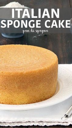 Pan di Spagna (Italian sponge cake)- make it from scratch with only 3 ingredients: flour, sugar, and eggs. In the traditional recipe there is no baking powder, butter, or oil! This is the best sponge cake recipe ever! via as easy as Apple Pie Italian Sponge Cake, Italian Cake, Italian Desserts, Italian Pastries, Italian Butter Cake Recipe, Italian Cream Cakes, Italian Bread, Italian Cookies, Best Sponge Cake Recipe Ever