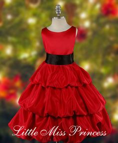 Red Satin 3 Tier Dress with Black Sash