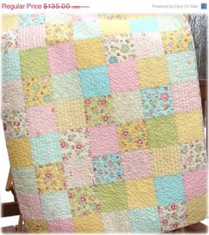 SALE Baby Girl Quilt  Patchwork Pastels by CarleneWestberg on Etsy, $114.75