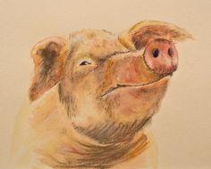 Happy Pig - pastel
