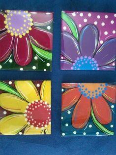 Resultado de imagen para individuales en resina Tole Painting, Fabric Painting, Diy Painting, Painting On Wood, Painted Pots, Tile Art, Easy Paintings, Art Plastique, Creative Art