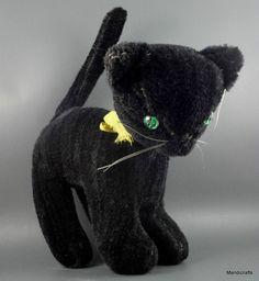 Mohair Black Tom Cat Halloween Kitty Germany Green Faceted Jewel Eyes 19 cm Vtg