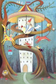 The Tree Carousel - Giclee Print - Fantasy Art - Carousel - Animal Illustration - Nursery Print Thing 1, Cellophane Bags, Nursery Prints, Carousel, Fine Art Paper, Giclee Print, Original Artwork, Fantasy Art, Colours