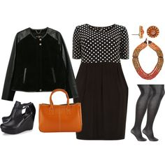A fashion look from November 2014 featuring Evans dresses, Violeta by Mango jackets and Lane Bryant tights. Browse and shop related looks.