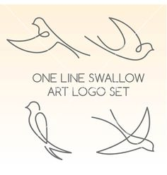 One line swallow art logo set vector