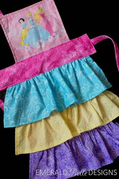 Disney Princess Apron with Ruffles in toddler and Child sizes, or Mommy & Me sets! EmeraldBelleDesigns.etsy.com