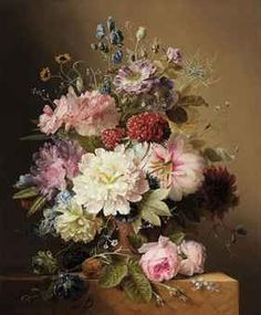 Still life with peonies, rhodedendran, auricula, roses, and summer flowers, in an urn, on a marble ledge