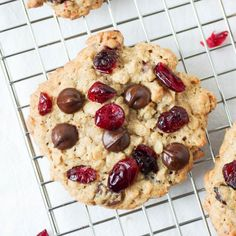 Soft and Chewy Cranberry Chocolate Chip Oatmeal Cookies