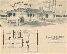 Mid Century Modern House Plans | 1950 Modern Ranch Style House Plan - Mid-century - Home Building Plan ...