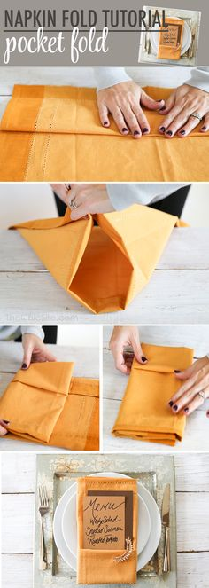 This is a Step by Step How to Tutorial on my beautiful Pocket Fold Napkin with a unique touch, a cuff earring!