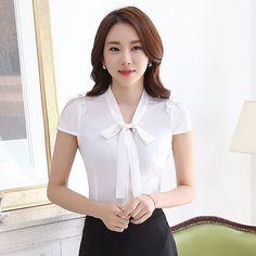 df97df5015 Details about Women Long Sleeve Slim Shirts Blouses Bow Collar Shirt  Chiffon Tops Career OL