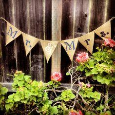 Mr & Mrs Wedding Burlap Bunting Banner by RachelRockDesign