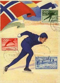 Postkort med frimerker utgitt til OL i Oslo 1952.