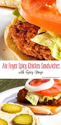 Air Fryer Spicy Chicken Sandwiches are the perfect lunch or weeknight meal. Crisp outside, juicy inside, full of flavor! You'll love how easy they are. Fried Breaded Chicken, Air Fryer Fried Chicken, Fried Chicken Breast, Chicken Breast Air Fryer Recipe, Oven Chicken, Spicy Chicken Sandwiches, Spicy Chicken Recipes, Chicken Sandwich Recipes, Spicy Chicken Breading Recipe