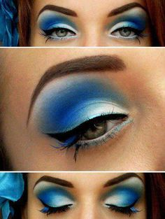 Blue eye make up doesn't need to be tacky. Here is proof. Blue Eye Makeup, Love Makeup, Makeup Tips, Hair Makeup, Blue Eyeshadow, White Makeup, Ugly Makeup, Peacock Makeup, Makeup Lessons