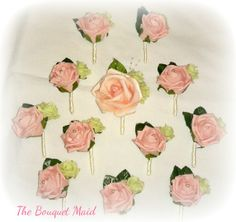 www.thebouquetmaid.co.uk Button holes  Vintage wedding Pink roses Bride & groom