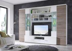 Gianii - obývací stěna (bílá/dub truffel)
