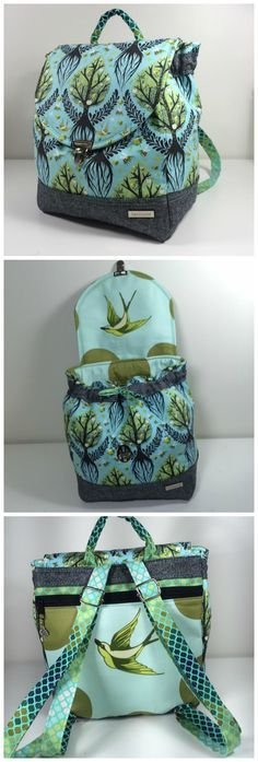 Savannah Backpack sewing pattern from CloBird. This example stitched by Crystal C.