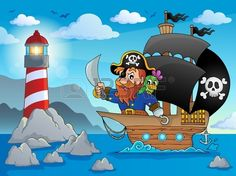Pirate ship theme image 2 - eps10 vector illustration