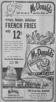 Old ad for McDonalds. McDonald's and Munchies both had $0.15 hamburgers...