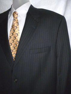LAUREN RALPH LAUREN Wool Navy Pin Stripe Blazer Suit Jacket CANADA 46 R #LaurenRalphLauren #TwoButton