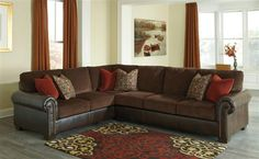 Shop Arlette Traditional Classics PVC Fabric Sectional w/RAF Sofa with great price, The Classy Home Furniture has the best selection of to choose from Benchcraft Furniture, Furniture Outlet, Quality Furniture, Discount Furniture, Living Room Furniture, Living Room Decor, San Antonio, Ashley Sectional, Fabric Sectional