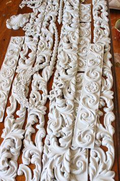 Paint Efex™ Decorative Latex Appliques before gluing. Read more on Victoria's blog Trios Petites Filles My Dream Bed http://triospetitesfilles.blogspot.com