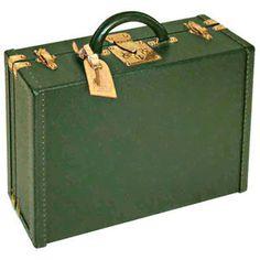 Louis Vuitton Dark Green Leather Briefcase - Polyvore