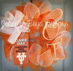 UT University of Texas Longhorns orange, white, and burlap Deco Mesh Wreath with handpainted curly, zebra print letters