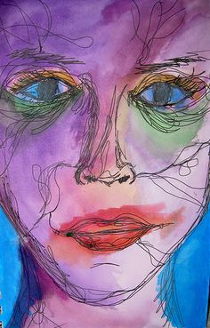 Continuous line portrait sketch, painted with water colour Sketchbook Inspiration, Abstract Art Painting, Art Painting Oil, Continuous Line Drawing, Art Drawings, Figure Drawing, Line Drawing, Art Inspiration, Portrait Sketches