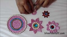 DIY - Floating kundan diya rangoli and floating kundan flowers, How to m...