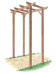 Instructions on how to build a free-standing pergola.  (Drawing of Wooden Pergola Made from Kit)