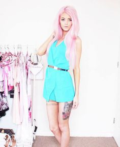 The gorgeous Kirstydoll in our Playsuit #blogger #fblogger #fashion #style #teal #pinkhair #pastelhair