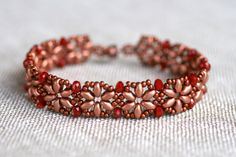 Copper Super Duo and Crystal Beaded Flower Bracelet by MindyG