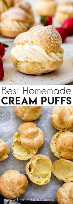 Cream Puff Recipe, Cream Recipes, French Cream Filling Recipe, Pastry Cream Recipe Easy, Cream Puff Dessert, Cream Puff Filling, Pastry Dough Recipe, Easy Desserts, Delicious Desserts