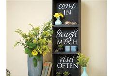 bookshelf, vinyl lettering, uppercase living http://ddoak.uppercaseliving.net