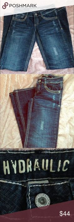"""🎉HP🎉""""Hydraulic"""" Straight Leg Distressed Jeans 🎉 HOST PICK 🎉 8.9.17 👖 """"BEST IN JEANS PARTY"""" 🎉 """"Hydraulic"""" Brand Straight Leg Jeans 👖 • 97% Cotton 3% Spandex - Cute stitching around the pockets and along the seams. I love this distressed look!! I wore them maybe once! They are like new! These jeans are in EXCELLENT CONDITION! Hydraulic Jeans Straight Leg"""