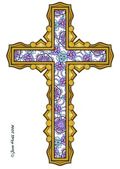 ArtbyJean - Easter Clip Art: Golden cross filled with floral ...